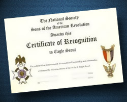 Eagle Scout Certificate of Recognition - SAR California